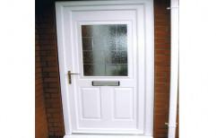 White Toughened Glass UPVC Main Door, 5 Mm