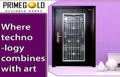 Brown Wood Finish Entrance Steel Double Door, Thickness: 70 Mm