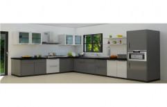 L Shape Acrylic Modular Kitchen, Warranty: 1-5 Years