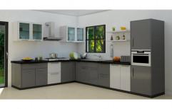 PVC L Shape Italian Modular Kitchen, Kitchen Cabinets