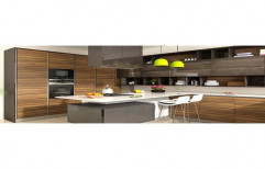 Wooden L Shape Fancy Modular Kitchen, Kitchen Cabinets