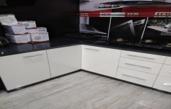 Wooden L Shape Modular Kitchen, Wall Units Depth: 18 Inches, Base Unit Depth: 20inches