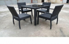 Black Mild Steel Outdoor Wicker Furniture for Hotel, Table Shape: Square
