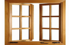 Brown Wooden Hinged Window, Rectangle