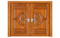 Finished Designer Teak Wood Double Door, For Home