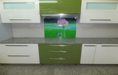 Green & White Acrylic Kitchen Cabinets, For Industrial/Personal
