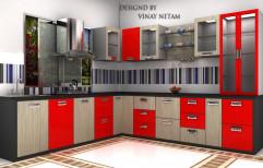 L Shape Wooden Modular Kitchen, Warranty: 1-5 Years