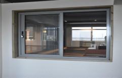 Powder Coated Aluminium Two Track Sliding Window, For Home