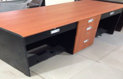 """Teek Wood And Black 2 Seater Desk & Tables, For Corporate Office, Size: 30""""x72""""x27"""""""