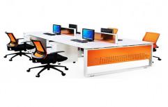 Wooden Orange,White Office Computer Workstation