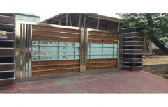 Hinged Silver Stainless Steel Double Door Glass Design