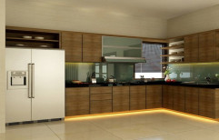 PVC Wooden Straight Modular Kitchen
