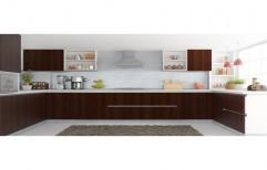 Shree Ram Enterprise Dark Brown & White Modular Kitchen Cabinet