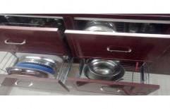 Wooden Maroon Modular Kitchen Cabinet