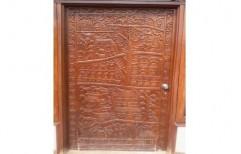 Brown Beautiful Carved Wood Door