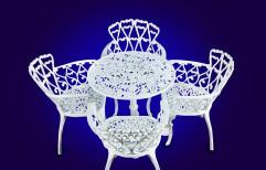 Cast Aluminum White Garden Table Chair Set