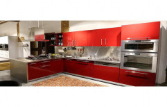 Laminated Wood L Shape Modular Kitchen