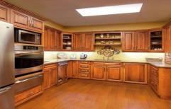 PVC Membrane U Shape Wooden Modular Kitchen