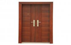 Standard Polished Petra Home Teak Finish Steel Door, Material Grade: Galvanised