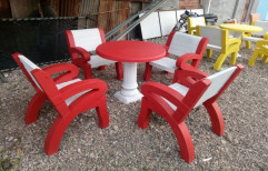 Two Color Concrete Outdoor Table And Chair, With Back