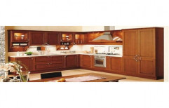 Wooden L Shape Italian Modular Kitchen