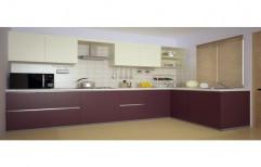 Wooden L Shape Modular Kitchen Service