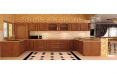 Brown Wooden Modular Kitchen