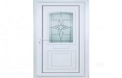 Clear Glass Lever Handle Designer UPVC Hinged Door, 5mm
