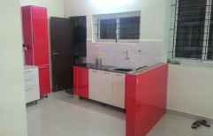 Wooden U Shape Red Color Modern Kitchen, Warranty: 1-5 Years