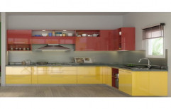 Classic L Shape Wooden Modular Kitchen