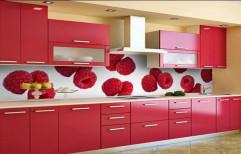 Hamza Furniture Red Modular Kitchen Cabinet