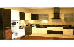 L Shape Wooden Modular Kitchen, Base Unit Height: 2.8 Feet