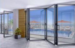 White Framed Glass Folding Door, For Office, 35 Mm