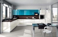 L Shape Classic Wooden Glossy Modular Kitchen